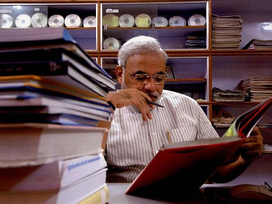 Narendra Modi busy at work
