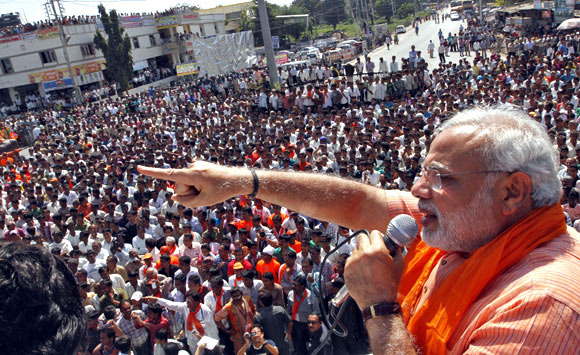 Gujarat Chief Minister Narendra Modi during an election rally in Dokar, Gujarat