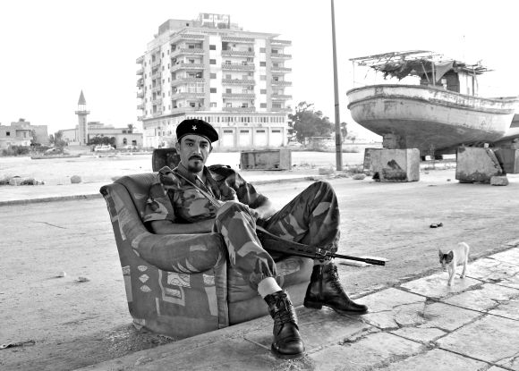 Libyan Rebel at the Old Shipyard of Benghazi