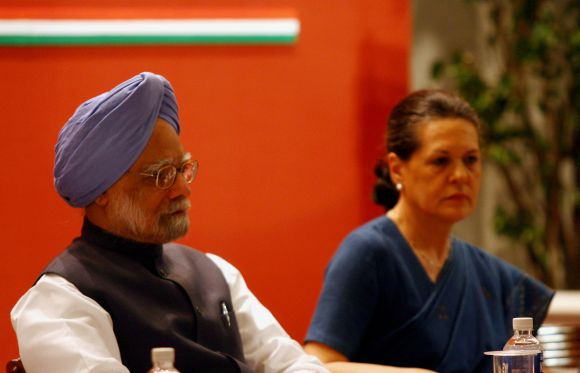 Prime Minister Manmohan Singh and Congress president Sonia Gandhi attend a function in New Delhi
