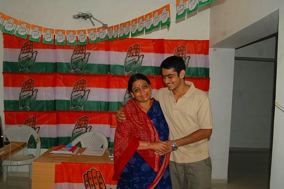 Shweta Bhatt with her son after a hectic day of campaigning in Ahmedabad