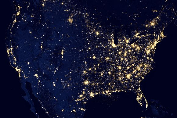 A night shot over the United States