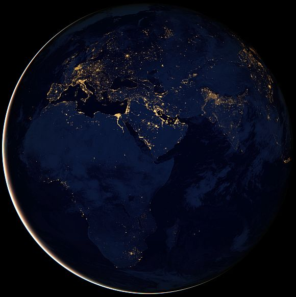 Stunning night view of Africa, Europe, and the Middle East