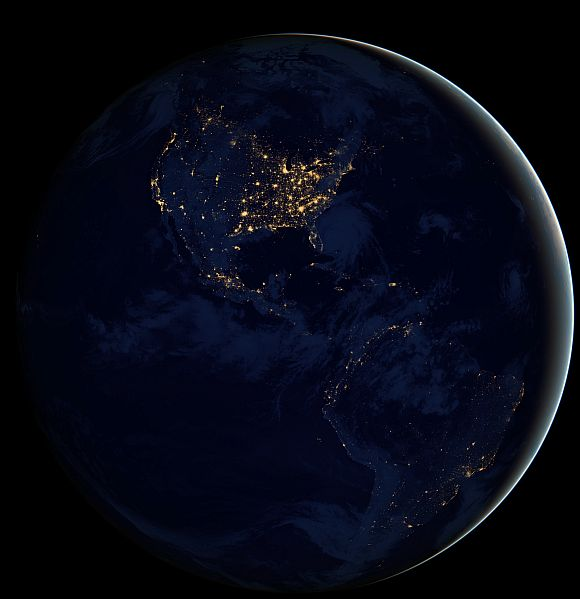 North and South America at night