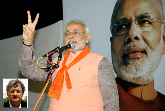 Narendra Modi addresses supporters at a campaign rally in his Maninagar constituency (Inset) Ramachandra Guha