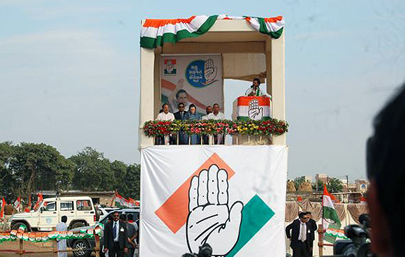 A Congress rally addressed by Sonia Gandhi in Keshod, Junagadh
