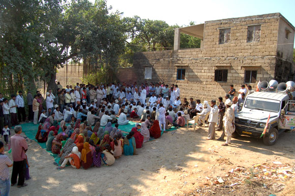Villagers at Jadeja's meeting in Mocha village