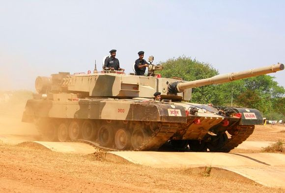 Arjun third generation main battle tank conducting driving test on sand berms