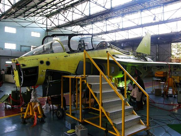 The first HAL Tejas twin-seater trainer version prototype under construction at HAL, Bangalore.