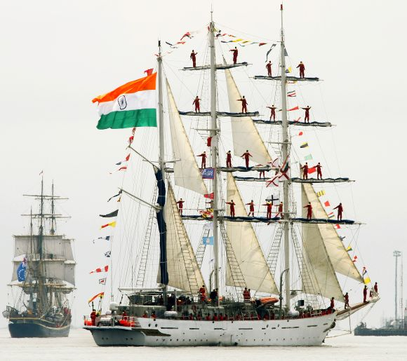 The Indian Navy training barque Tarangini participates in a naval parade in Halifax, Canada