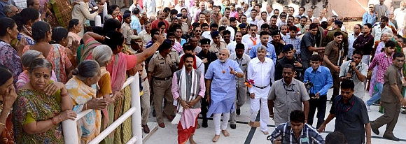 Modi waves to his supporters