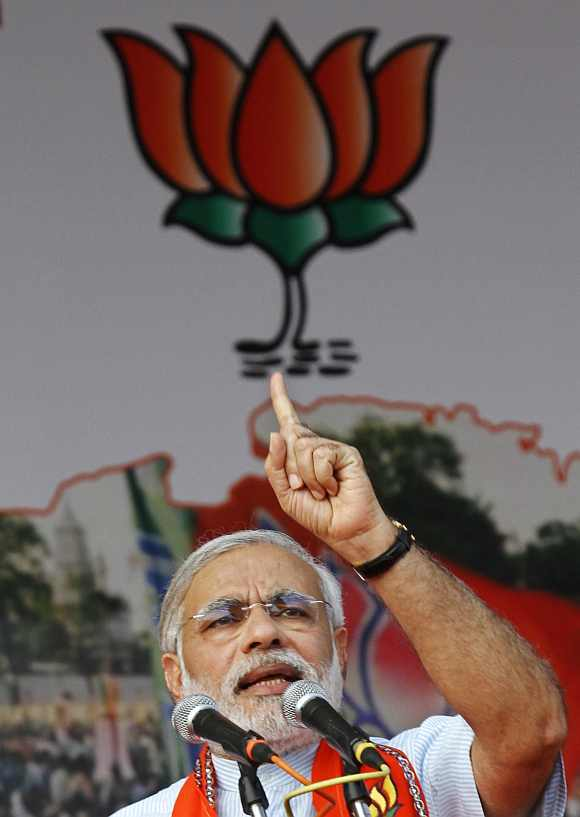 Modi during a rally in Gujarat