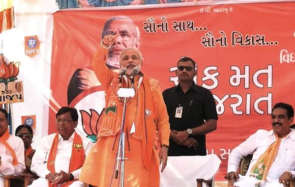 Modi addresses his supporters in Vadodara