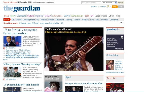 Screeenshot of London-based Guurdian newspaper's home page