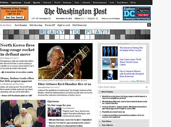 Screenshot of The Washington Post home page