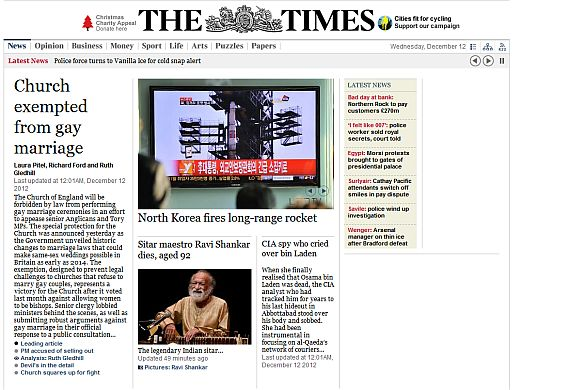 Screenshot of The Times newspaper home page