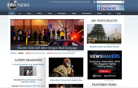 Screenshot of the ABC News home page