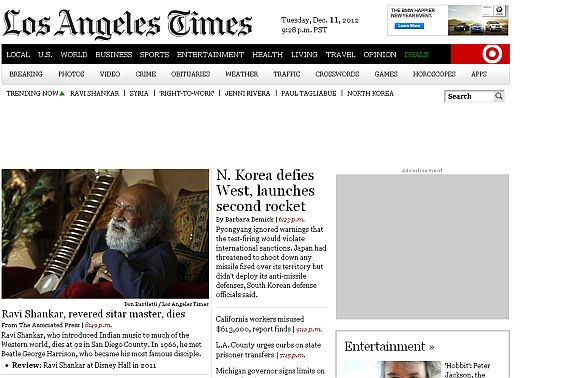 Screenshot of the Los Angeles Times newspaper home page
