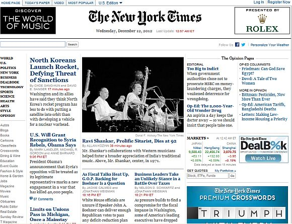 Screenshot of The New York Times newspaper home page