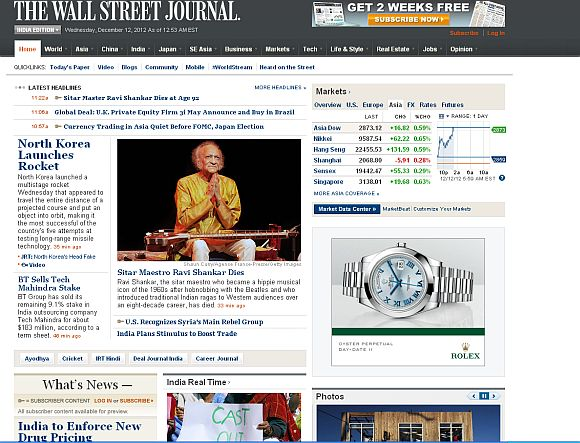 Screenshot of The Wall Street Journal newspaper home page