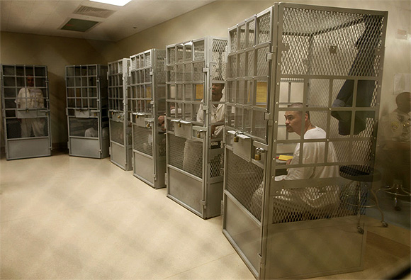 Administrative segregation prisoners take part in a group therapy session at San Quentin state prison in San Quentin, California