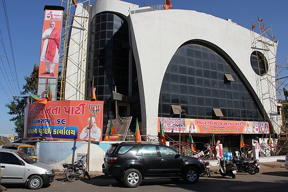 A BJP election office in Rajkot