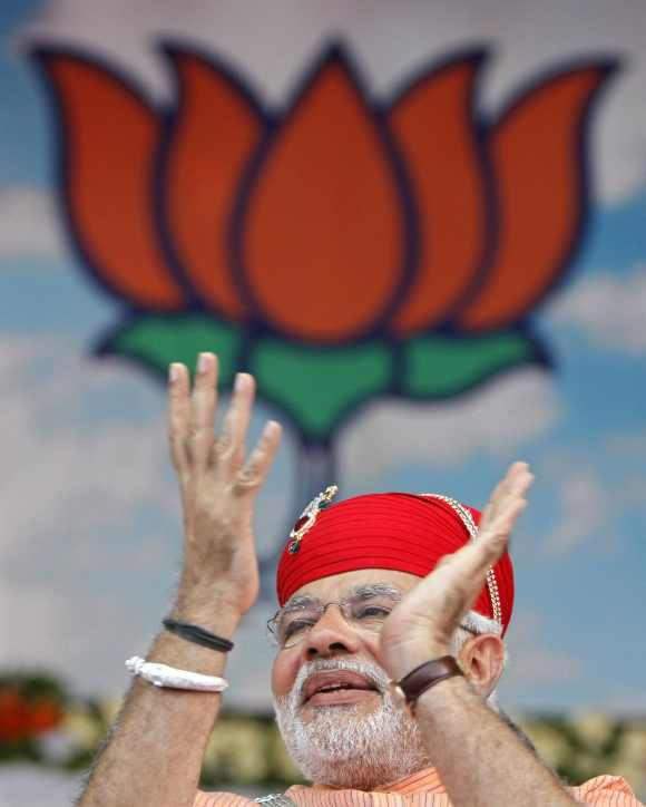 Gujarat's CM Narendra Modi at an election campaign rally