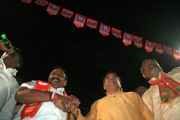 Paresh Rawal with BJP candidate Ranchhodbhai Rabari