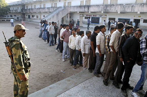 Voters queue up in Gujarat