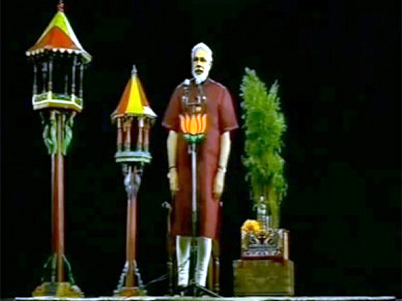 Narendra Modi addresses his supporters via 3-D