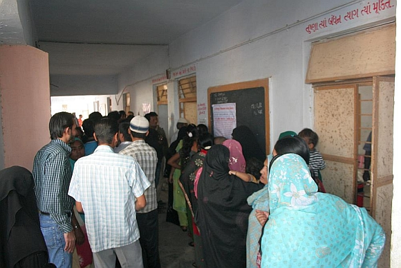Muslim voters at the Maktampur primary school in Juhapura