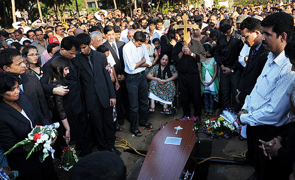 Jacintha Saldanha's family members at her funeral service
