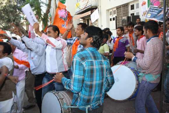 BJP workers begin celebrations outside the party HQ
