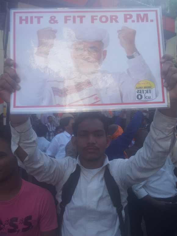 A supporter of Modi otuside the BJP HQ