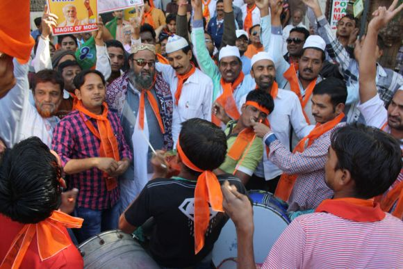 Celebrations in Ahmedabad after the BJP's victory