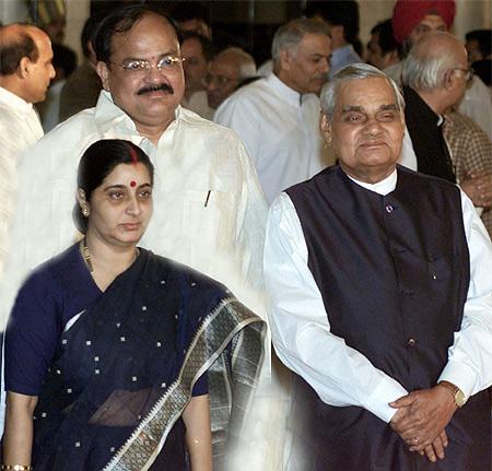 Former prime minister Atal Bihari Vajpayee with senior BJP leaders M Venkaiah Naidu and Sushma Swaraj
