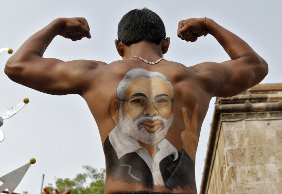 A Modi supporter at a rally