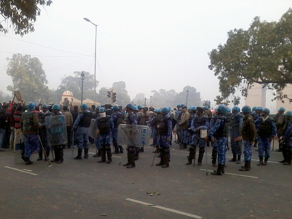 A contingent of the Rapid Action Force at the protest venue
