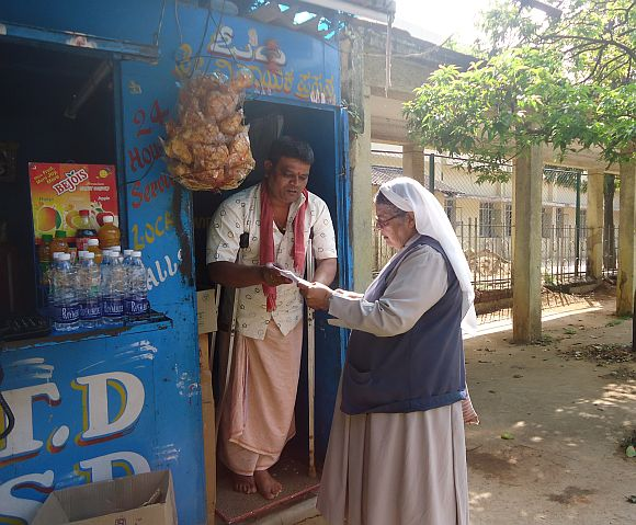 Sister Mary Mascarenhas with a rehabilitated patient of the Sumanhalli Society