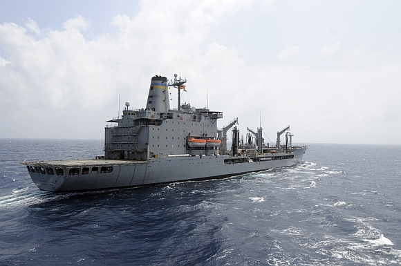 The US navy supply ship USNS Rappahannock maintains station as it prepares a replenishment at sea in this US navy photo handout photo taken in the South China Sea