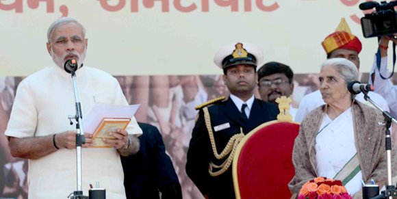 Narendra Modi takes oath as the chief minister of Gujarat for the 4th time at the Sardar Patel Stadium in Ahmedabad