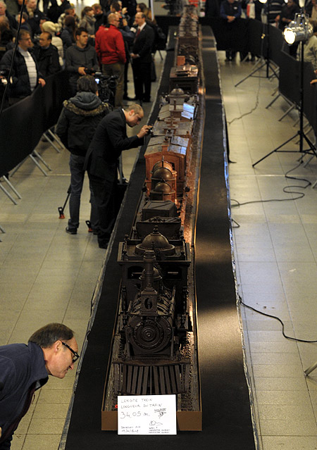 The world's longest chocolate structure on Guinness World Records is displayed in Brussels