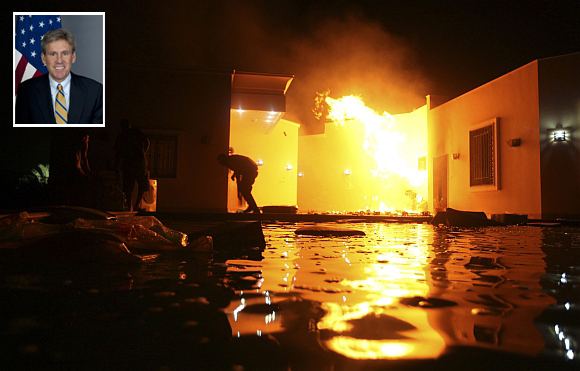 The US consulate in Benghazi is seen in flames during a protest by an armed group said to have been protesting a film being produced in the United States. (inset) J Christopher Stevens