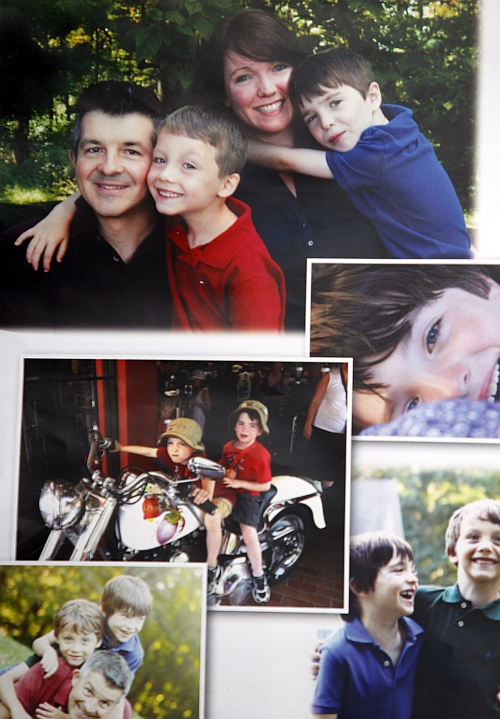 Sandy Hook Elementary School shooting victim Dylan Hockley is seen in family photos in his obituary during his funeral service in Bethel, Connecticut