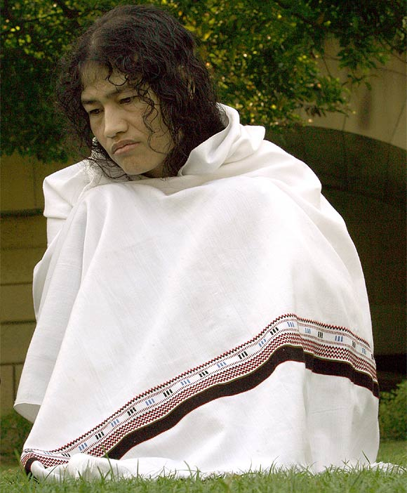 Irom Sharmila Chanu at an interview with Reuters in New Delhi