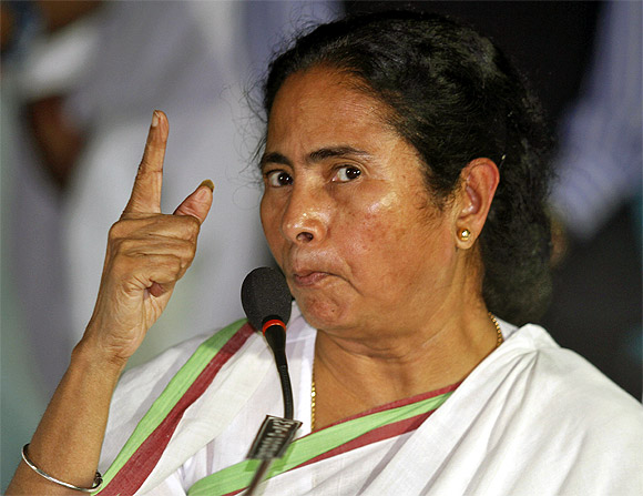 Chief Minister of West Bengal Mamata Banerjee at a news conference after a meeting of her Trinamool Congress party in Kolkata