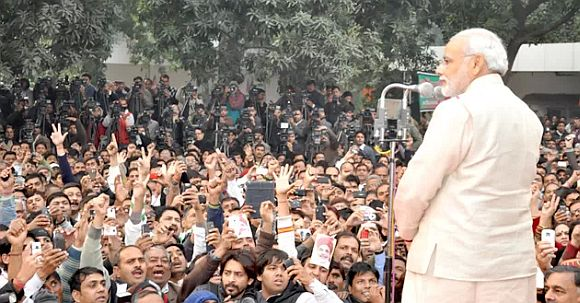 Modi addressing party workers in New Delhi