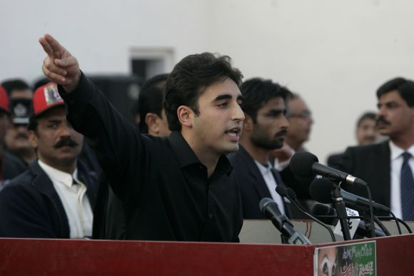 Bilawal Bhutto Zardari, son of assassinated former Pakistani prime minister Benazir Bhutto, makes a speech to launch his political career during the fifth anniversary of his mot