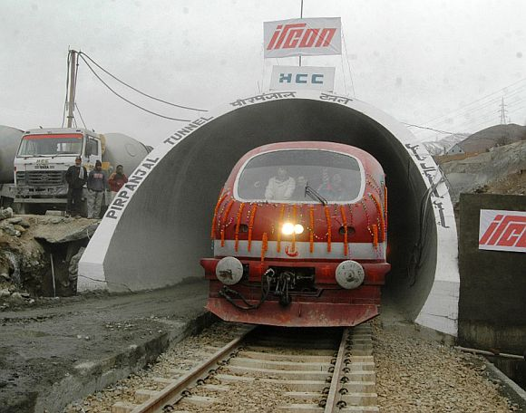Trial run on India's longest train tunnel