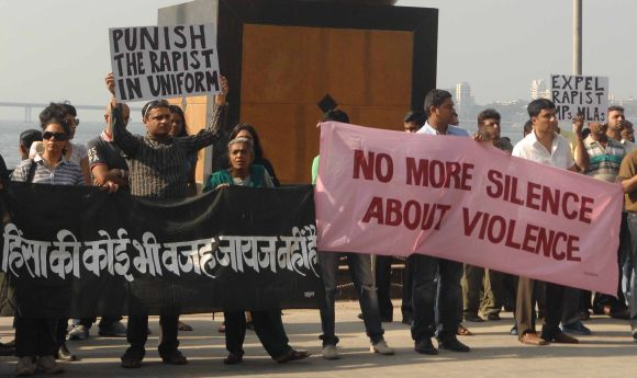 Mumbaikars protest against the death of rape victim at Shivaji Park in Mumbai